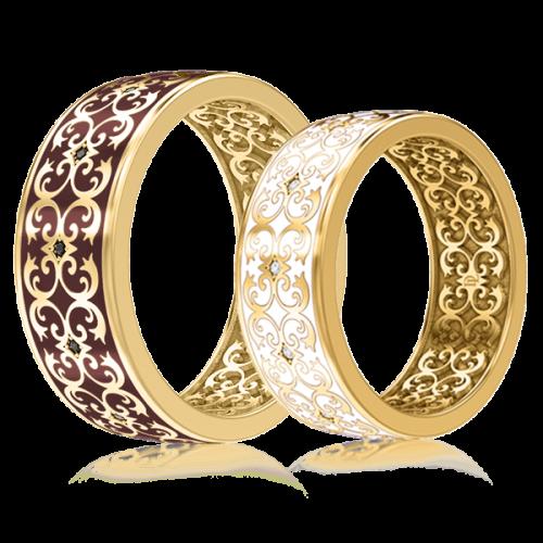 Обручальное кольцо в желтом золоте со вставками: эмаль, бриллианты 0003434