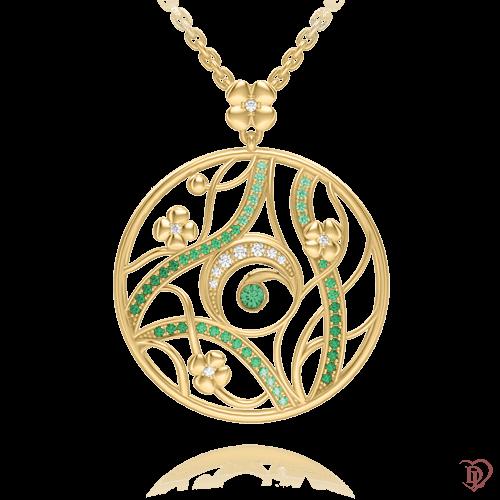 Колье в желтом золоте со вставками: бриллианты, сапфиры, цавориты, изумруды, топазы 0003484