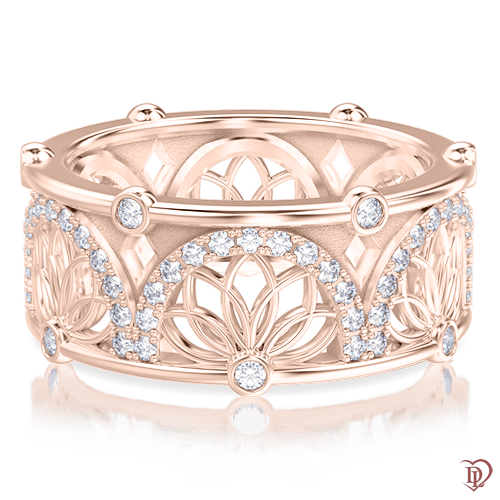 Кольцо в розовом золоте со вставками: топазы 0004017