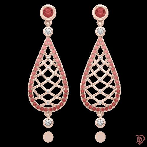 Серьги в розовом золоте со вставками: бриллианты, сапфиры 0004037