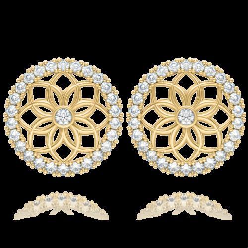 Серьги в желтом золоте со вставками: бриллианты 0004134