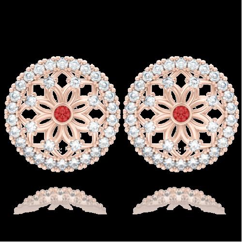 Серьги в розовом золоте со вставками: топазы, рубины 0004147