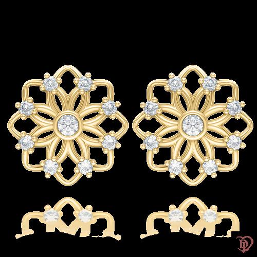 Серьги в желтом золоте со вставками: бриллианты 0004234