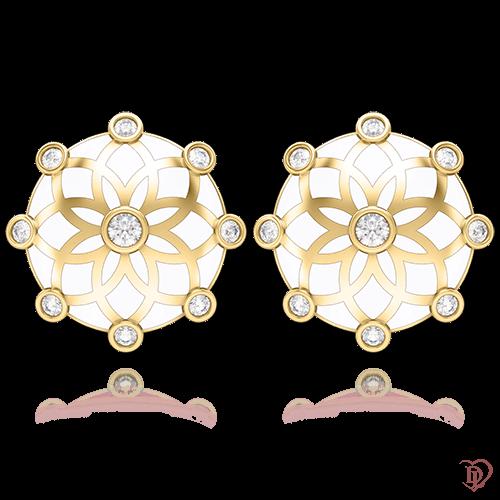 Серьги в желтом золоте со вставками: бриллианты 0004434