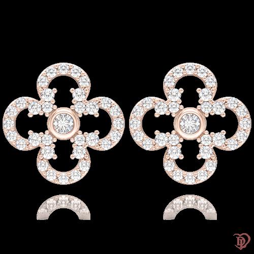 Серьги в розовом золоте со вставками: бриллианты 0004667