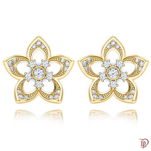 Серьги в желтом золоте со вставками: эмаль, бриллианты 0004734