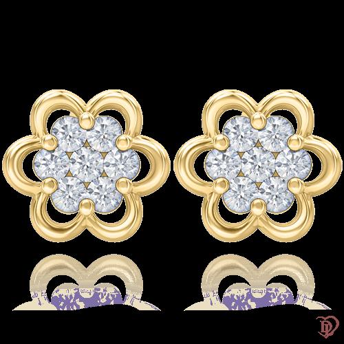 Серьги в желтом золоте со вставками: бриллианты 0004804