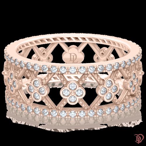 Кольцо в розовом золоте со вставками: бриллианты 0005227