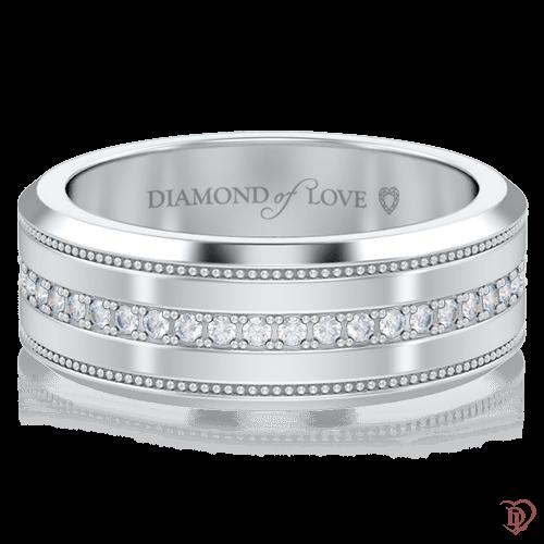 Обручальное кольцо в белом золоте со вставками: бриллианты 0005793