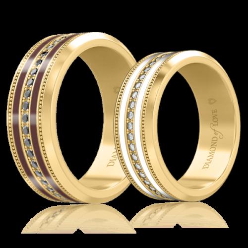 Обручальное кольцо в желтом золоте со вставками: бриллианты, эмаль 0006354