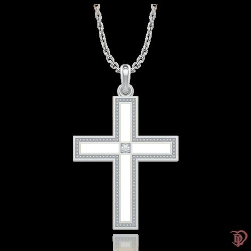Крест в белом золоте со вставками: бриллианты, эмаль 0006903