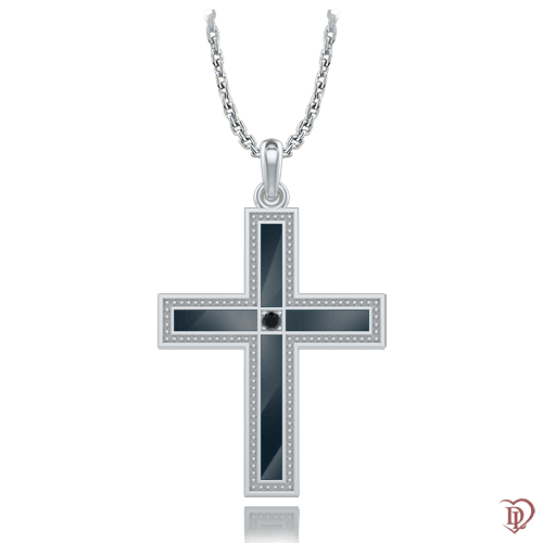 Крест в белом золоте со вставками: бриллианты, эмаль 0006913