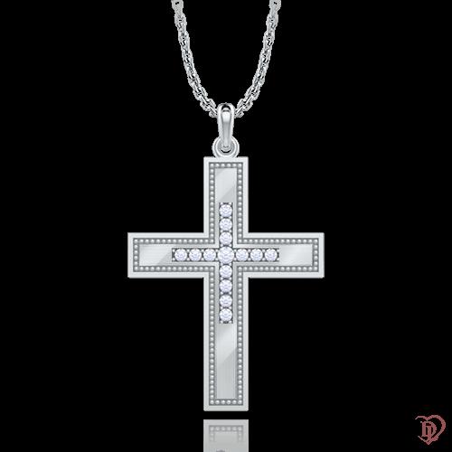 Крест в белом золоте со вставками: бриллианты 0007003