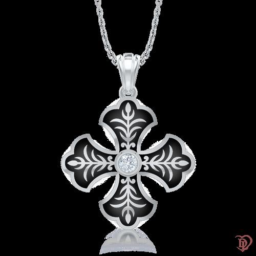 Крест в белом золоте со вставками: эмаль, бриллианты 0007113