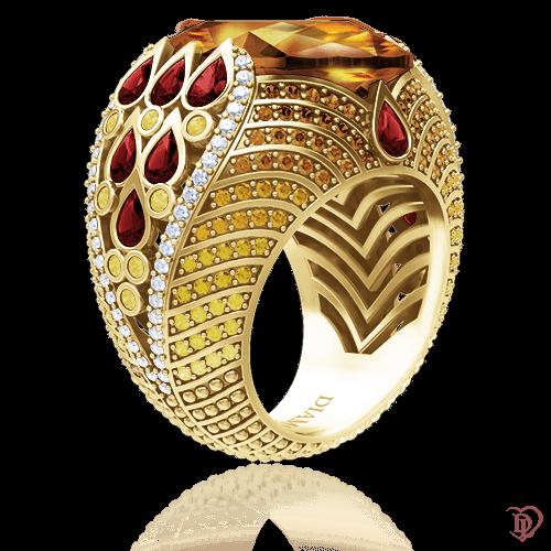Кольцо в желтом золоте со вставками: бриллианты, сапфиры, цитрины, морганиты 0008864