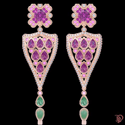 Серьги в розовом золоте со вставками: аметисты, изумруды, бриллианты 0009037