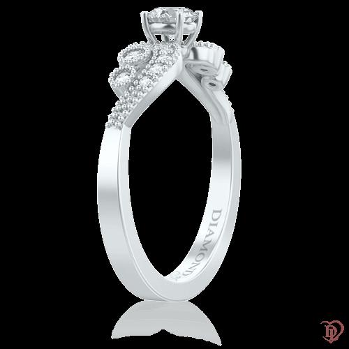 Кольцо в белом золоте со вставками: бриллианты 0009433