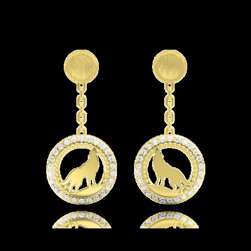 Серьги в желтом золоте со вставками: бриллианты 0013274