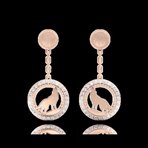 Серьги в розовом золоте со вставками: бриллианты 0013277