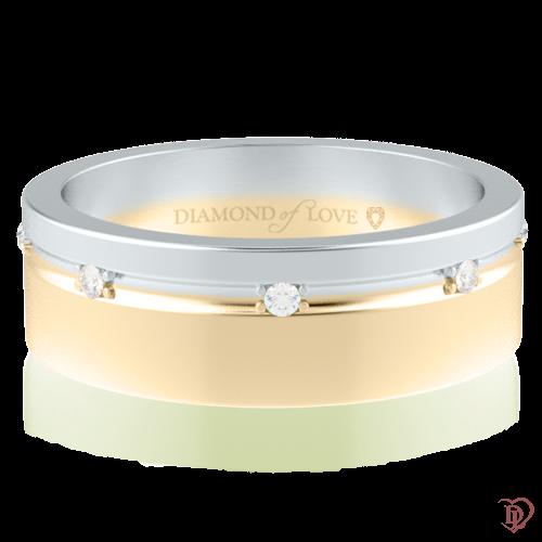 Обручальное кольцо в белом золоте со вставками: бриллианты 0014313