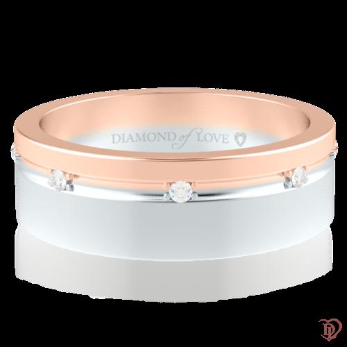 Обручальное кольцо в розовом золоте со вставками: бриллианты 0014317