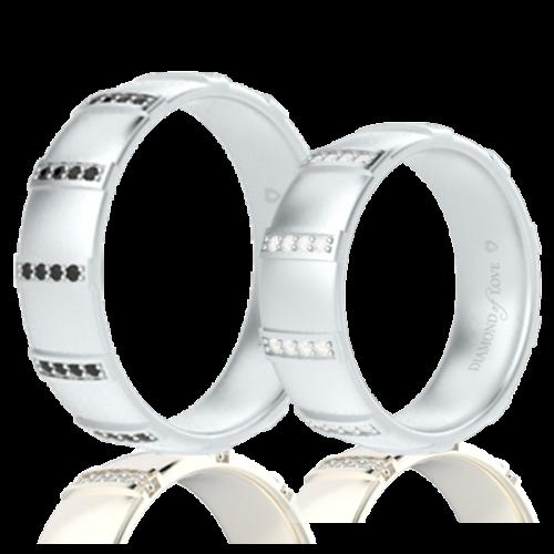 Обручальное кольцо в белом золоте со вставками: бриллианты 0014343