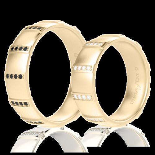 Обручальное кольцо в желтом золоте со вставками: бриллианты 0014344