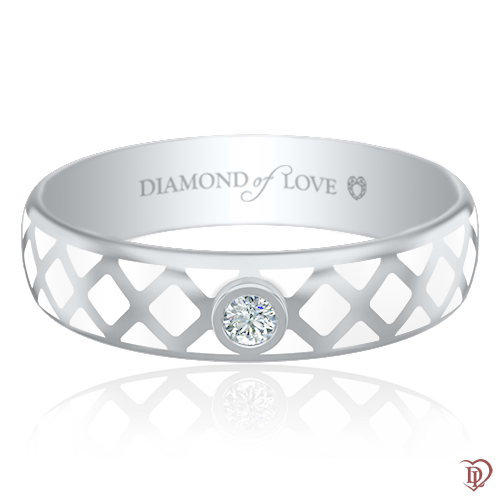 Обручальное кольцо в белом золоте со вставками: бриллианты, эмаль 0017423