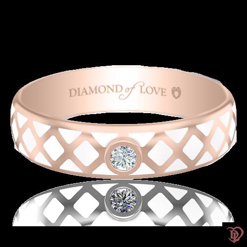 Обручальное кольцо в розовом золоте со вставками: бриллианты, эмаль 0017427