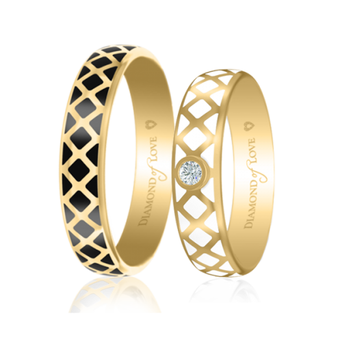 Обручальное кольцо в желтом золоте со вставками: эмаль 0017434
