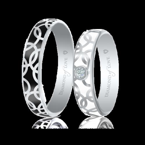 Обручальное кольцо в белом золоте со вставками: эмаль 0017443