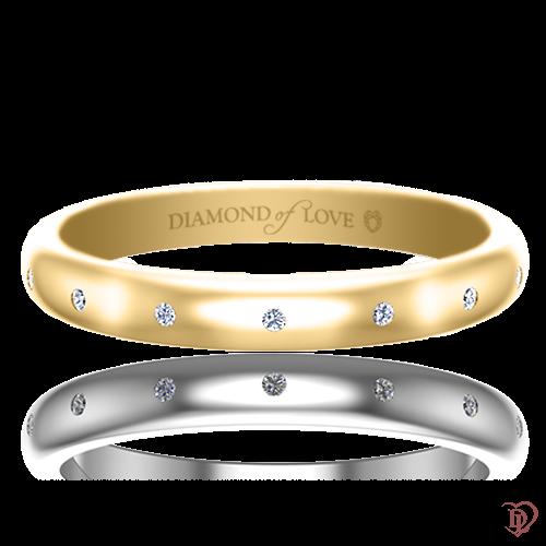 Обручальное кольцо в желтом золоте со вставками: бриллианты 0017464