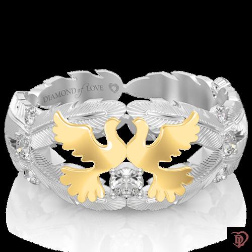 Обручальное кольцо в белом золоте со вставками: бриллианты 0017483