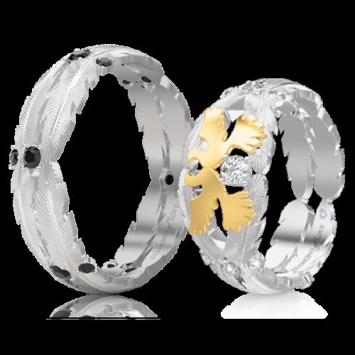 Обручальное кольцо в белом золоте со вставками: бриллианты 0017493