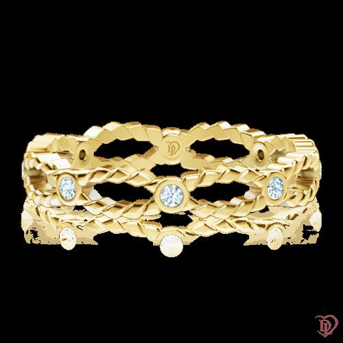 <p>Каблучка в жовтому золоті зі вставками: діаманти</p>  0000184