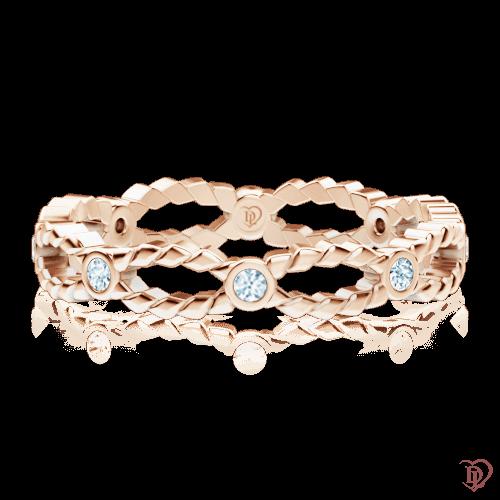 <p>Каблучка в рожевому золоті зі вставками: діаманти</p>  0000187