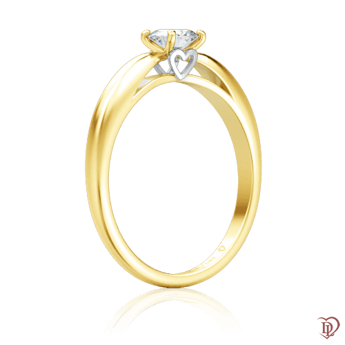 <p>Каблучка в жовтому золоті зі вставками: діаманти</p>  0000224