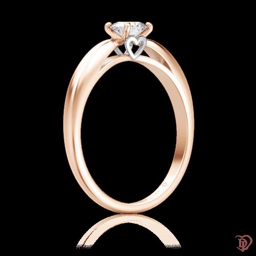 Каблучка в рожевому золоті зі вставками: діаманти 0000227