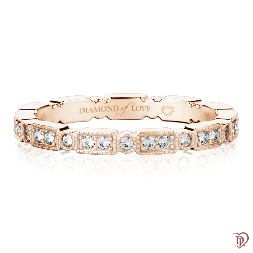 Обручальное кольцо в розовом золоте со вставками: бриллианты 0000317