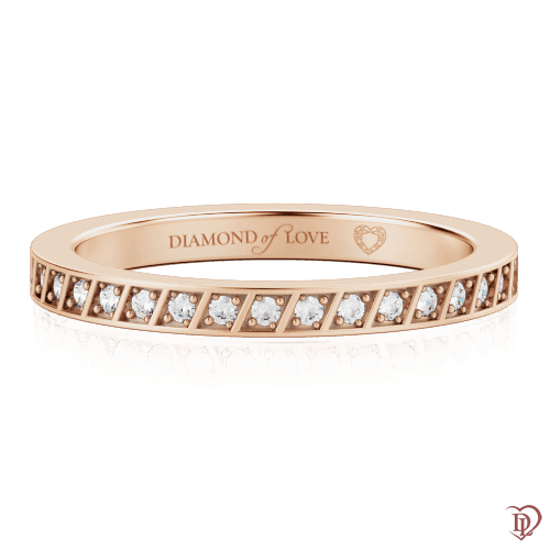 Обручальное кольцо в розовом золоте со вставками: бриллианты 0000327