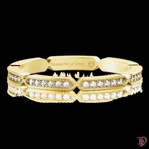 <p>Обручальное кольцо в желтом золоте со вставками: бриллианты</p>  0000344
