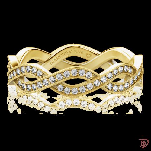 <p>Каблучка в жовтому золоті зі вставками: діаманти</p>  0000364