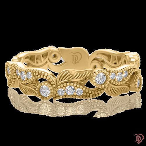 <p>Каблучка в жовтому золоті зі вставками: діаманти</p>  0000384
