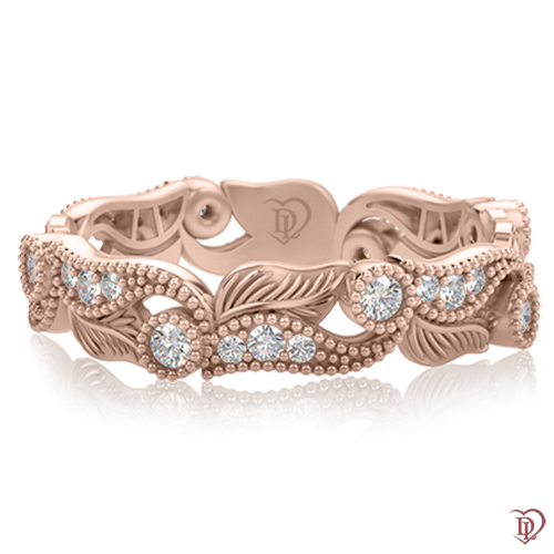 <p>Каблучка в рожевому золоті зі вставками: діаманти</p>  0000387