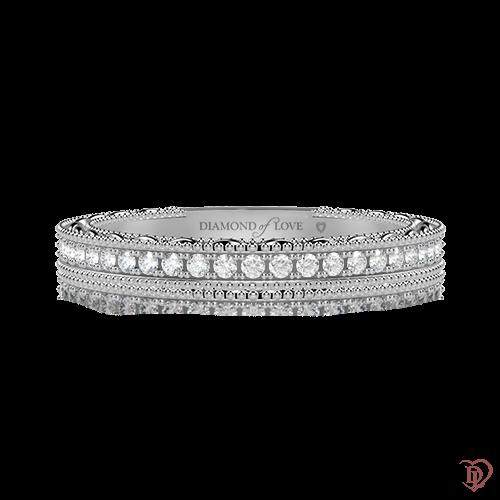 <p>Обручальное кольцо в белом золоте со вставками: бриллианты</p>  0000493