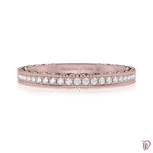 <p>Обручка в рожевому золоті зі вставками: діаманти</p>  0000497