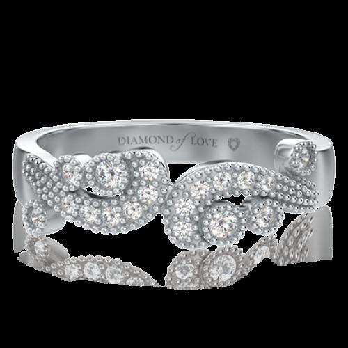 <p>Каблучка в білому золоті зі вставками: діаманти</p>  0000503