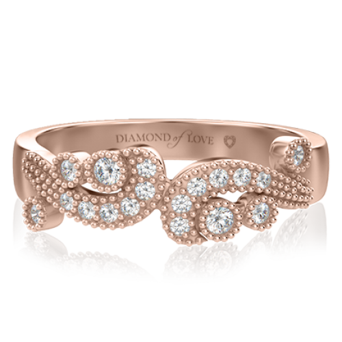<p>Кольцо в розовом золоте со вставками: бриллианты</p>  0000507
