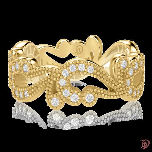 <p>Каблучка в жовтому золоті зі вставками: діаманти</p>  0000514