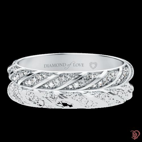 <p>Обручальное кольцо в белом золоте со вставками: бриллианты</p>  0000573